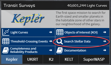 Kepler Stellar search button