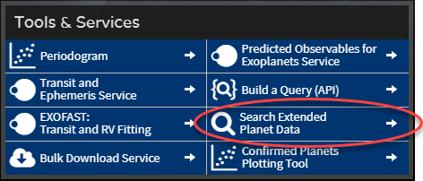 Extended Planet Data Search button