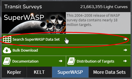SuperWASP search button